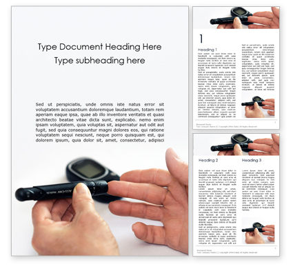 Medical: Blood Sugar Monitoring Diabetes Word Template #16108