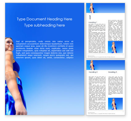 People: Low Angle View of Fit Woman Word Template #16115