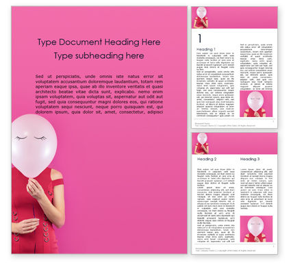 Holiday/Special Occasion: Woman with Pink balloon Instead of Her Face Word Template #16117