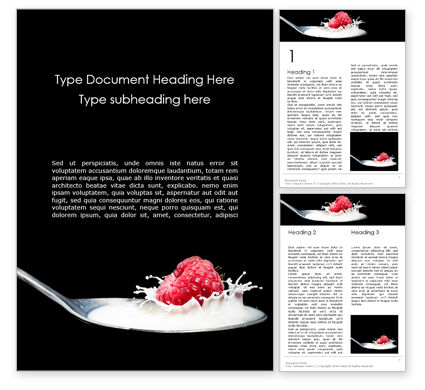 Food & Beverage: Raspberry and Milk Splashing on Spoon on Black Background Word Template #16127