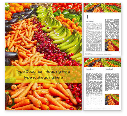 Food & Beverage: Colorful Fruits and Vegetables Word Template #16128