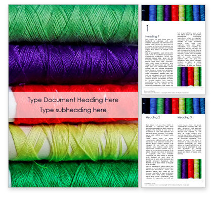 Careers/Industry: Colorful Threads Closeup Word Template #16130