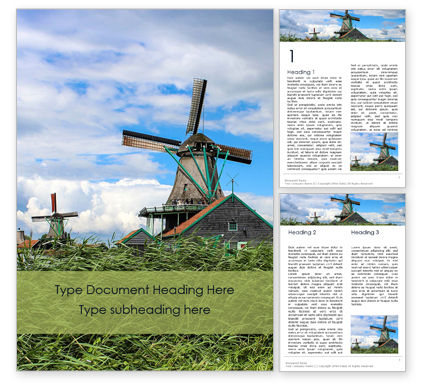 Construction: Traditional dutch old wooden windmills免费Word模板 #16131