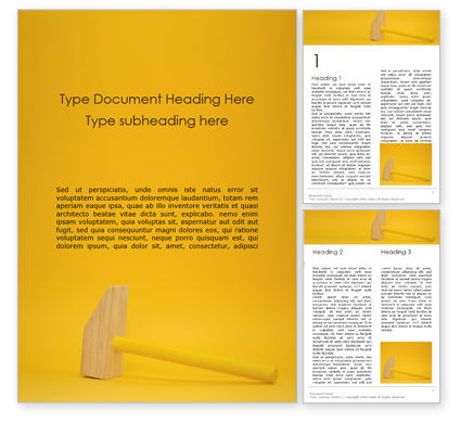 General: Wooden Mallet Hammer on Yellow Background Word Template #16133