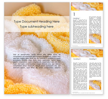 Careers/Industry: White and Yellow Wool Fluffy Towels Word Template #16135