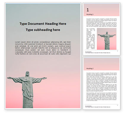 Religious/Spiritual: Christ The Redeemer Statue Gratis Word Template #16139