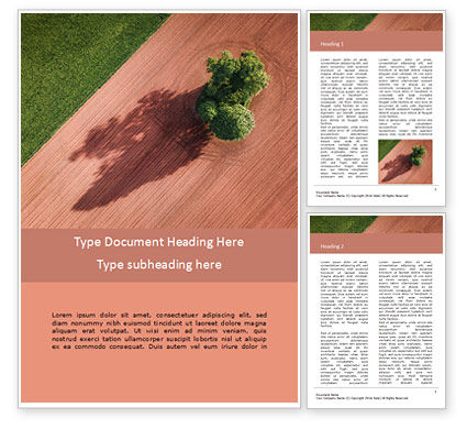 Nature & Environment: Aerial View of Field and Shade Tree Word Template #16143