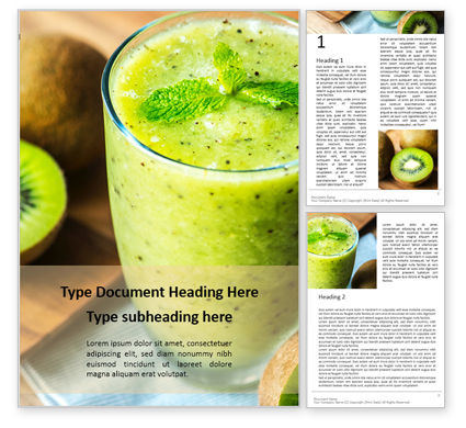Food & Beverage: Fresh Juice Made from Kiwi Fruit Word Template #16154