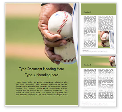 Sports: Man Holding Two Baseballs Word Template #16156