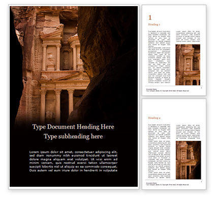 Art & Entertainment: Entrance Of City Of Petra Gratis Word Template #16159