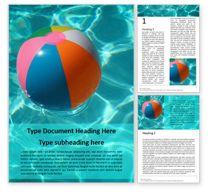 Sports: An Inflatable Beach Ball in Swimming Pool Word Template #16162