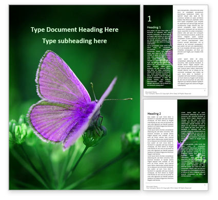 Nature & Environment: Purple Butterfly on Green Plant Word Template #16164