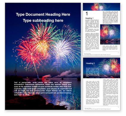 Holiday/Special Occasion: Fireworks in a Harbor Word Template #16166