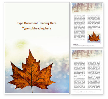 Nature & Environment: Maple Leaf on Festive Bokeh Background Word Template #16175