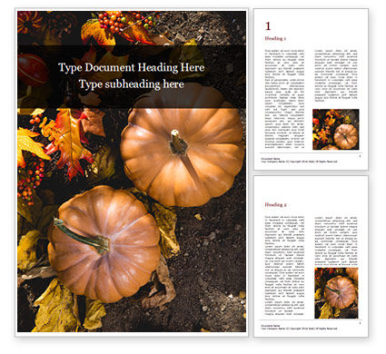 Holiday/Special Occasion: Still Life Harvest with Pumpkins and Leaves Word Template #16176