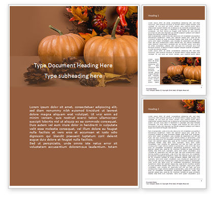 Holiday/Special Occasion: Still Life Harvest with Pumpkins and Gourds for Thanksgiving Word Template #16184