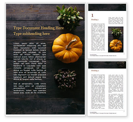 Holiday/Special Occasion: Thanksgiving Decoration on Wooden Table Word Template #16185