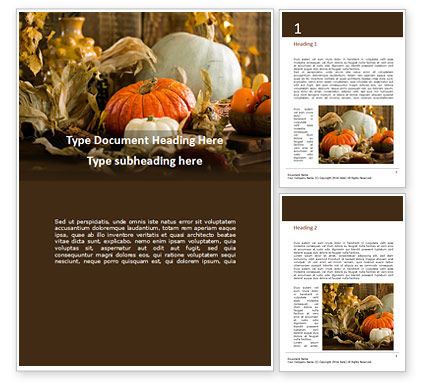 Food & Beverage: White and Orange Pumpkins on Table Word Template #16186