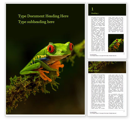 Nature & Environment: tropical red-eyed tree frog - 無料Wordテンプレート #16190