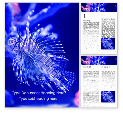 Nature & Environment: Black and White Lion Fish Word Template #16193