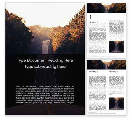 Construction: Road Between Trees Gratis Word Template #16197