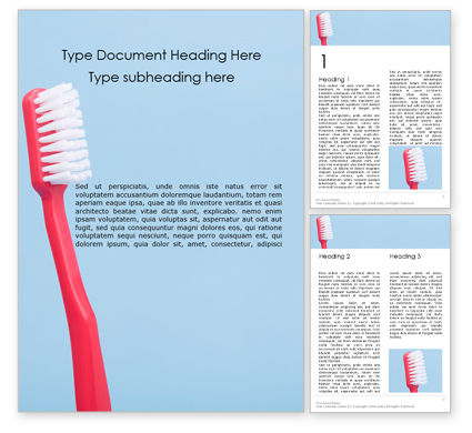 Medical: Toothbrush on blue background免费Word模板 #16207