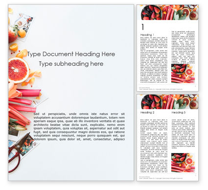 Food & Beverage: Fruits and Flowers Word Template #16208