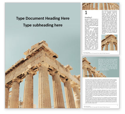 Construction: Parthenon Temple on a Bright Day Word Template #16210