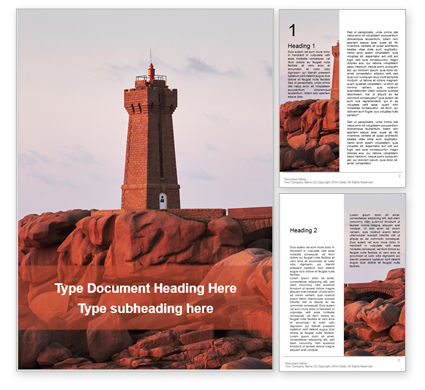Construction: Sunset View of the Ploumanac'h Lighthouse Word Template #16211