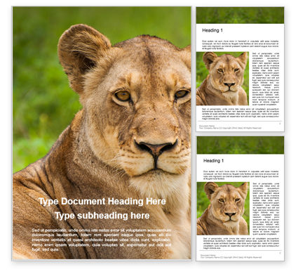 Nature & Environment: Portrait of Lioness on Grass Word Template #16212
