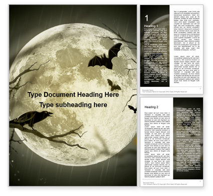 Nature & Environment: Spooky Moon Word Template #16215