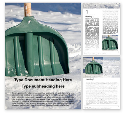 Nature & Environment: Green Snow Shovel Word Template #16216