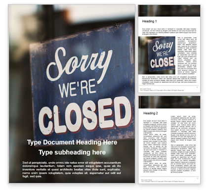 Business Concepts: 무료 워드 템플릿 - sorry we're closed sign #16217