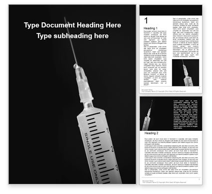 Medical: Syringe On Black Background Gratis Word Template #16218