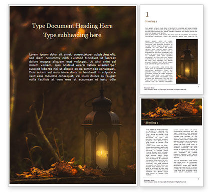 Nature & Environment: Lantern in the Autumn Forest Word Template #16225