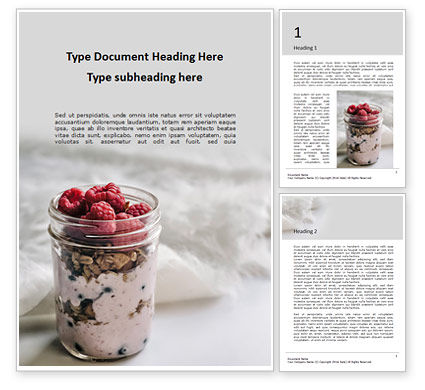 Food & Beverage: Filled mason jar with granola and yogurt Kostenlose Word Vorlage #16232
