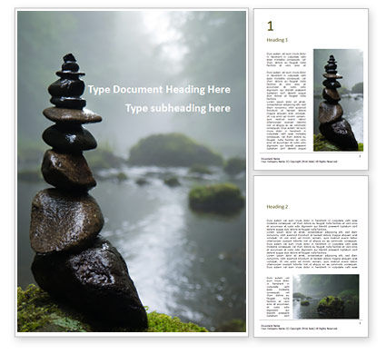 Nature & Environment: Modèle Word gratuit de pebble tower on the riverside #16233