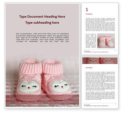 Holiday/Special Occasion: Pink Baby Boots Word Template #16236