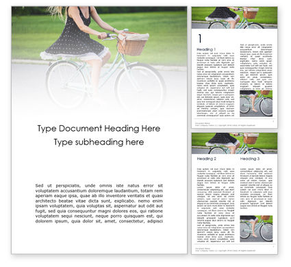 People: Barefoot Woman Riding Bicycle Word Template #16241