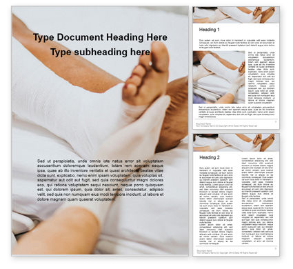 Medical: Doctor Bandaging Foot of Female Patient Word Template #16242