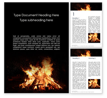 Religious/Spiritual: Night Bonfire Word Template #16243