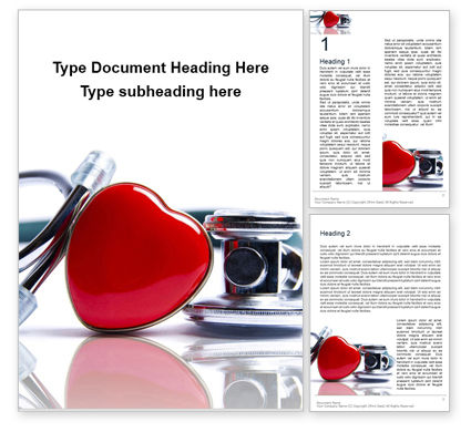 Medical: Stethoscope And Heart On White Surface Gratis Word Template #16244