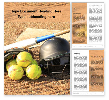 Sports: Softball Bat Helmet and Glove on Base Word Template #16252