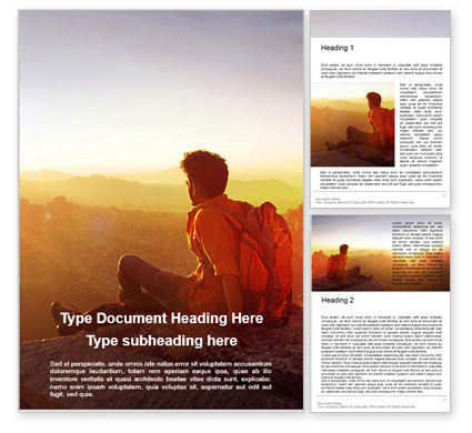 Nature & Environment: Man Sitting on Edge Cliff Facing Sunset Word Template #16259