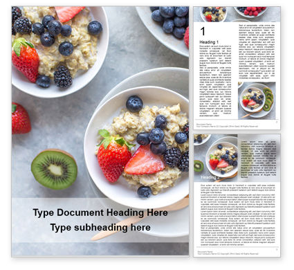 Food & Beverage: Homemade Oatmeal with Berries Word Template #16264
