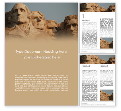 America: Mount Rushmore Word Template #16272