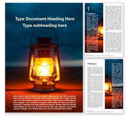 Nature & Environment: Modello Word Gratis - Lighted kerosene lantern on ground #16273