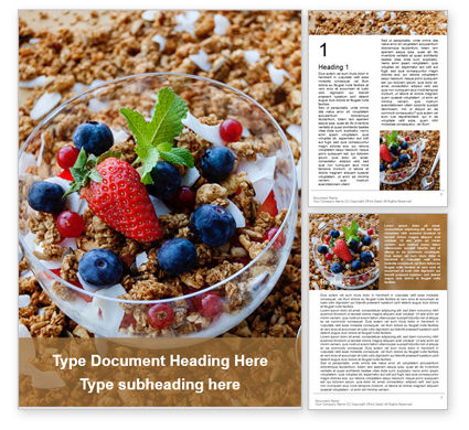Food & Beverage: Bowl of homemade granola with yogurt and fresh berries Kostenlose Word Vorlage #16274