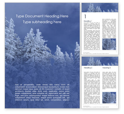 Nature & Environment: Spruces Tree on Wintry Hill Word Template #16280