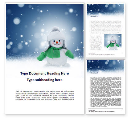 Holiday/Special Occasion: Cheerful Snowman Word Template #16284